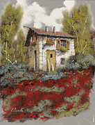 Old House Posters - Mille Papaveri Poster by Guido Borelli