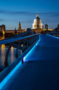 Leading  Lines Posters - Millenium Bridge Blue Hour I Poster by Adam Pender