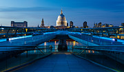 Leading  Lines Posters - Millenium Bridge Blue Hour II Poster by Adam Pender