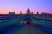 London Scenes Prints - Millenium Thames Bridges  Print by David French
