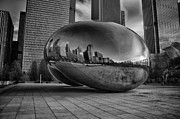 Chicago Black White Posters - Millennium Bean Poster by Mike Burgquist