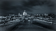 Brdige Prints - Millennium Bridge Black and White Print by A Souppes