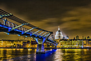 London At Night Framed Prints - Millennium Bridge with St pauls Framed Print by Ian Hufton