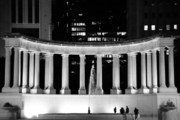 Night Scenes Posters - Millennium Monument and Fountain Chicago Poster by Christine Till
