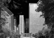 Chicago Skyline Bw Metal Prints - Millennium Park Monument - The Colonnade - Wrigley Square Chicago Metal Print by Christine Till