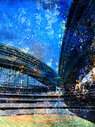 Abstract Baseball Prints - Miller Park 1 w paint Print by Anita Burgermeister
