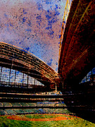 Summer Digital Art Metal Prints - Miller Park 2 w paint Metal Print by Anita Burgermeister