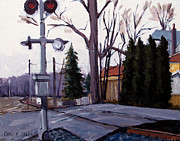 Railroads Paintings - Millers Crossing by Charlie Spear