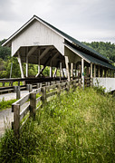 Covered Bridge Metal Prints - Millers Run Covered Bridge Metal Print by Edward Fielding
