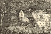 Grist Mill Drawings Posters - Mills at Rockland NY 1869 Engraving by John Filmer Poster by Antique Engravings