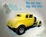 Milners Yellow Deuce Coupe Posters - Milners Coupe Poster by Barry Cleveland