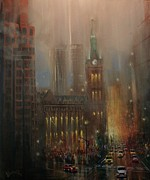 Night Scenes Paintings - Milwaukee Rain by Tom Shropshire