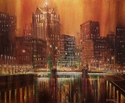 City At Night Paintings - Milwaukee River Downtown by Tom Shropshire