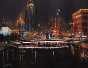 City Night Scene Paintings - Milwaukee River Lights by Tom Shropshire