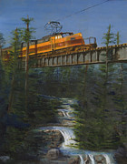 Train Painting Prints - Milwaukee Roads Wilderness Print by Christopher Jenkins