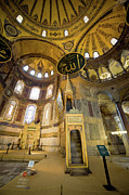 Hagia Sophia Photo Framed Prints - Mimbar and Mihrab in the Hagia Sophia Framed Print by Artur Bogacki