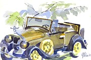 1929 Roadster Prints - Mimosa Tree with Model A Print by Kip DeVore