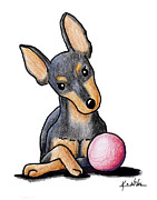Miniature Drawings - Min Pin With Ball by Kim Niles