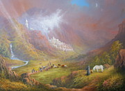The Lord Of The Ring Painting Framed Prints - Minas Tirith  War approaches. Framed Print by Joe  Gilronan