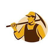 Miner Digital Art - Miner Worker With Pick Ax Retro by Retro Vectors