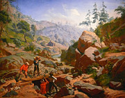 Charles Nahl Framed Prints - Miners In The Sierras Framed Print by Charles Nahl