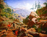 Miners Paintings - Miners In The Sierras by Pg Reproductions
