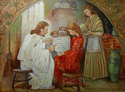 Martha Mary Paintings - Minerva Teichert Study Jesus at the home of Mary and Martha  by Anika Ferguson