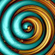 Swirly Digital Art Posters - Mingle - Aqua Poster by Wendy J St Christopher