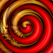 Swirly Digital Art Posters - Mingle - Red Poster by Wendy J St Christopher
