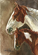Mustang A Day Challenge Paintings - Mingo and Mimi by Linda L Martin