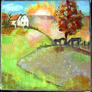 Landscapes Art - Mini 6x6 Landscape Painting Available by Blenda Studio