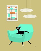 Midcentury Prints - Mini Abstract with Aqua Chair Print by Donna Mibus