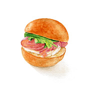 Sandwich Paintings - Mini brioche bun with smoked salmon by Nathalie Amber