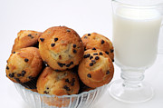 Buns Prints - Mini Chocolate Chip Muffins And Milk - Bakery - Snack - Dairy - 2 Print by Andee Photography
