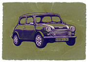 Charcoal Mixed Media - Mini Cooper - car art sketch poster by Kim Wang