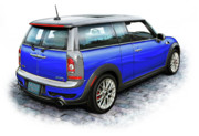 Mini Cooper Digital Art Posters - Mini Cooper Clubman Blue Poster by David Kyte
