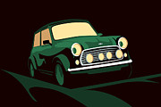 Vintage Digital Art Metal Prints - Mini Cooper Green Metal Print by Michael Tompsett