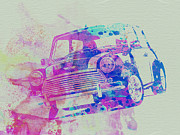Vintage Car Drawings - Mini Cooper by Irina  March