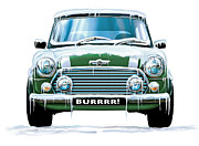Austin Digital Art Metal Prints - Mini Cooper on Ice Metal Print by David Kyte