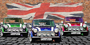 Mini Cooper Digital Art Posters - Mini Cooper Trio  Poster by Anthony Poynton