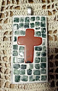 Mosaic Jewelry Posters - Mini Cross Mosaic Pendant 11 Poster by Kathleen Luther