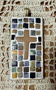Mosaic Jewelry Posters - Mini Cross Mosaic Pendant 12 Poster by Kathleen Luther