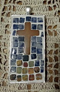 Mosaic Jewelry Posters - Mini Cross Mosaic Pendant 13 Poster by Kathleen Luther