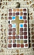 Mosaic Jewelry Posters - Mini Cross Mosaic Pendant 14 Poster by Kathleen Luther