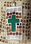 Mosaic Jewelry Posters - Mini Cross Mosaic Pendant 6 Poster by Kathleen Luther