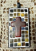 Mosaic Jewelry Posters - Mini Cross Mosaic Pendant 7 Poster by Kathleen Luther