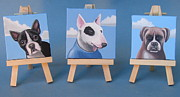 Bull Terrier Paintings - Mini Dog Portraits 2 by Stuart Swartz