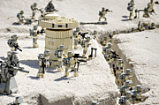 Star Prints - Mini Hoth Battle Print by Ricky Barnard