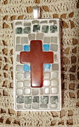 Mosaic Jewelry Posters - Mini Mosaic Cross Pendant 2 Poster by Kathleen Luther