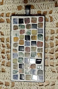 Handmade Quilt Framed Prints - Mini Mosaic Quilt Pendant 4 Framed Print by Kathleen Luther